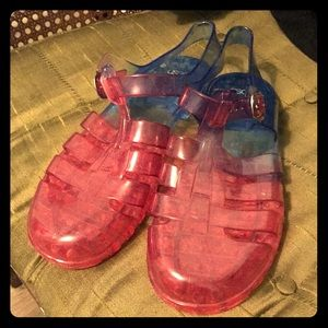 Asos jelly ombre pink to blue sandals!
